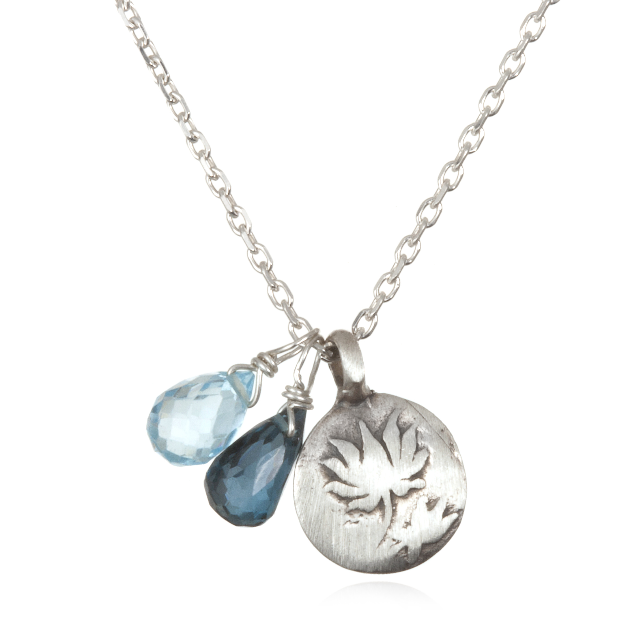 blue boundless lotus silver necklace satya