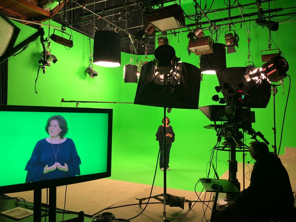 Greenscreen and Teleprompter